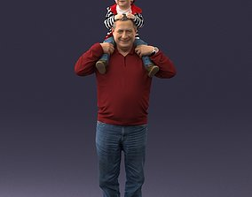 3D model Grandfather with boy 1023