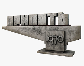 3D asset low-poly Pripyat City Sign