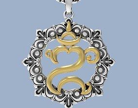Balinese Om symbol pendant or keychain 3D print model