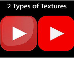 YouTube Button 3D model