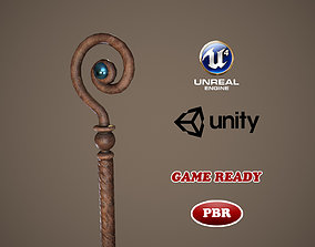 3D model game-ready Low Poly Medieval Staff