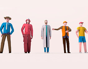 3D asset Cartoon Low Poly Man Characters Pack