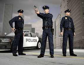 3D model realtime American Policeman Character of NY