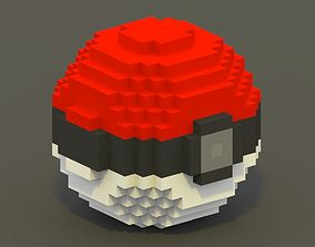 VR / AR ready Pokeball Voxel Model