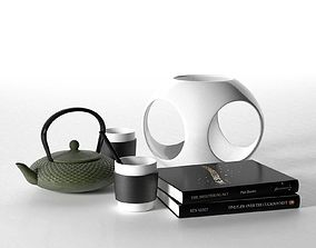 3D model black Tea Set with Sculpture and Book