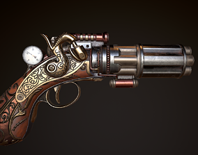3D model low-poly Steampunk Gun