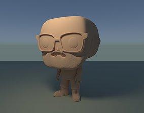 Custom Pop Bald Glasses Beard Figure 3D Print model
