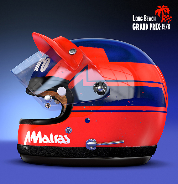 Gilles Villeneuve Long Beach Helmet from 1978