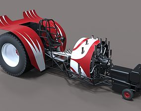 dragster Pulling tractor with radial engine 3D model
