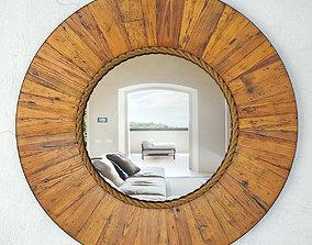 Salvaged Round Wood Mirror 3D