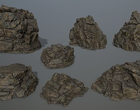 3D asset VR / AR ready rocks mossy