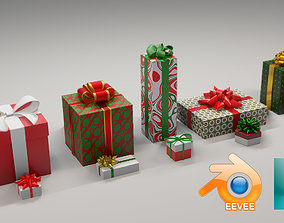 10 Christmas Gift Boxes and Bows 3D model