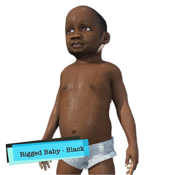 Baby Character Rigged Realistic - Black