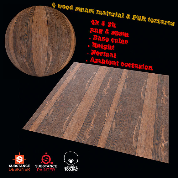 4 wood smart material and PBR texture