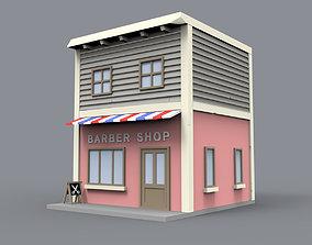 3D asset Barber shop block building