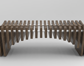 3D model Public chair made of wood