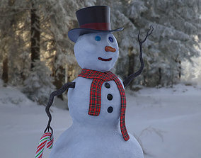 The Lil Snowman and Snow Covered Ground 3D