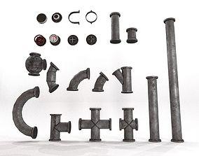 Industrial Pipes Set 3D model