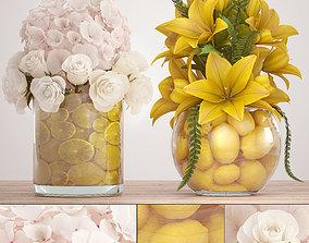 Decorative bouquet of flowers 3D model petals