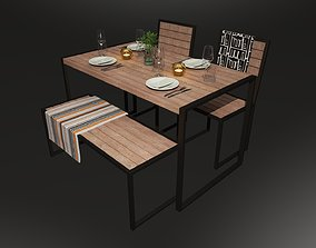 Dinner table including tableware cutlery 3D model 2