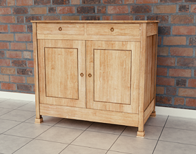 Cabinet 3D model game-ready wooden