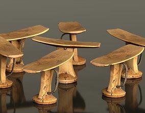 Headrest Africa Wood Furniture Prop 30 3D model