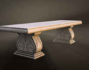 Stone Bench low-poly game-ready 3D model