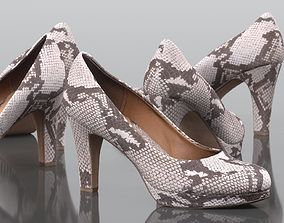 Snake Pattern Pumps 3D asset