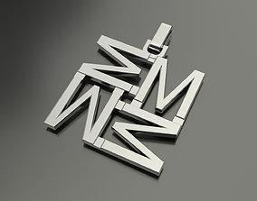 Pinwheel Letter M Necklace 3D printable model