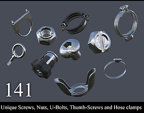 Collection of screws nuts and bolts 3D