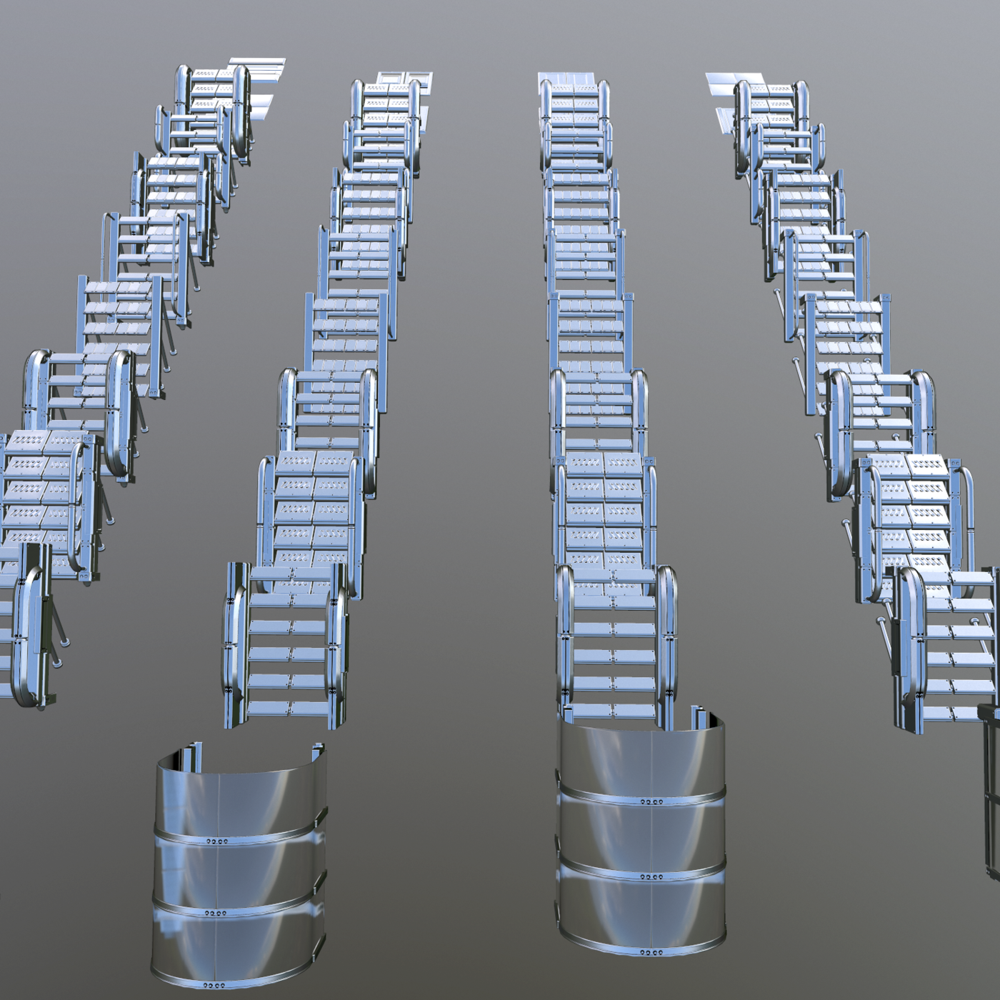 Sci-Fi pack of stairs 40 models Texture 7 sets 3D Model Collection