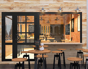 3D model coffee cafe with industrial style