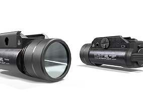 3D model Streamlight TLR1-HL Handgun Weapon Mounted