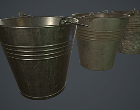 Metal Bucket PBR Game Ready 3D model