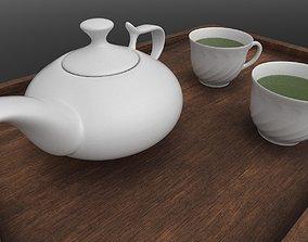 Porcelain tea set teapot tea cup 3D