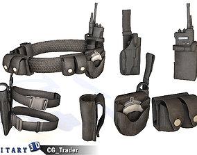 Lowpoly Police Tactical Belt Gear Equipment 3D asset 1