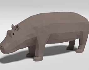 Low Poly Cartoon Hippopotamus 3D model