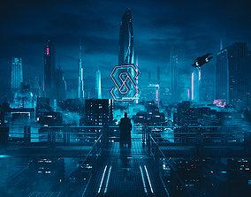 light 3D model cyberpunk city