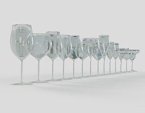 14 Wine and Beverage Glasses Set 3D