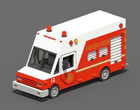 3D asset Voxel Fire Rescue Van