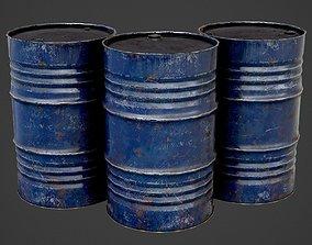 Oil Barrel blue PBR Game-Ready 3D asset