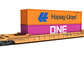 3D Double Stack Train Car