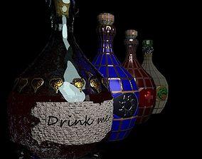 Set of 4 Alchemy Potions 3D asset