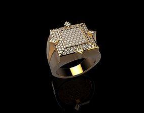 3D print model 18K Yellow Gold Diamond Rings for Men 2