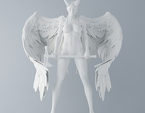 Evil angel holding an axe 3D print model