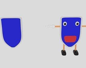 Cartoon Shield Character 3D asset