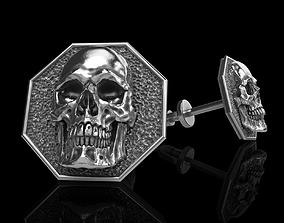 skull earrings studs silver 3D printable model