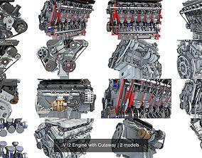 3D model V12 Engine with Cutaway