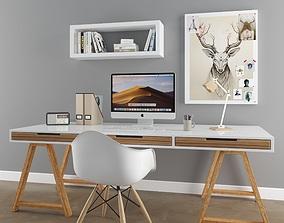 3D model scandinavian desk set 1