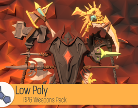 Low Poly RPG Weapons Pack 3D asset